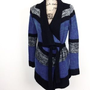 Moda Int'l Wool Blend Belted Cardigan M - N530@